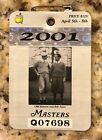 2001 MASTERS AUGUSTA NATIONAL GOLF CLUB BADGE TICKET TIGER WOODS WINS PGA