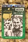 2002 MASTERS AUGUSTA NATIONAL GOLF CLUB BADGE TICKET TIGER WOODS WINS