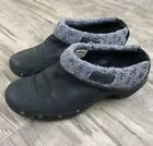 Merrell Womens Knit Black Leather Performance Clogs Size 8.5
