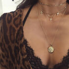 Boho Women Multi-layer Long Chain Pendant Crystal Choker Necklace Jewelry Gift