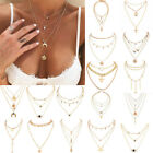 Boho Women Multi-layer Long Chain Pendant Crystal Choker Necklace Jewelry Gift image