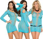 Elegant Moments Turquoise Cold Shoulder Beach Mini Dress With Cut Out Detail