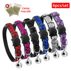 5pcs/lot Breakaway Cat Collar Nylon Safety with Bell Elastic Strap Quick Release