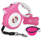 Small Retractable Dog Leash 16.4ft Dog Walking LED & Dog Waste Bags & Water Bowl