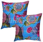 Indian Handmade Pillow Case Cotton Kantha Print Cushion Cover Set Of 2 Pc 16""
