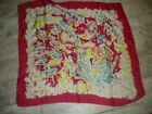"""Vintage Silk Scarf with Dancing Ballerinas Red Lime Turquoise  32""""x34"""" #5434"""