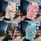 Marble Laser Ring Buckle Phone Case Finger Holder Cover for Phone X XR MAX 6 7 8