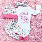 Newborn Infant Baby Girl Outfits Clothes Top Romper Bodysuit+Pants Leggings 4PCS