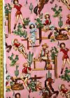 From the Hip Pink Alexander Henry Fabric Pinup cowgirl Cacti Desert