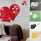Removable 3d Wall Sticker Mirror Love Hearts Decal Diy Home Room Art Mural Decor