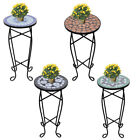 Small Garden Side Table Plant Stand Bistro Balcony Round  Mosaic Decor Vintage