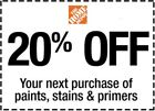 Home Depot Coupon 20% OFF Paint Stain & Primer InStoreOnly (lNSTANT Delivery)