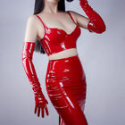 Shine Red Gloves Faux Patent Leather Extra Long 60cm Cosplay Costume Wedding