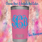 "Monogram Vinyl Decal For Tumblers Cups Sticker  Vine Monogram 1""- 4"""
