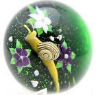 """Delicate BACCARAT Multicolored GARDEN SNAIL & FLOWERS Art Glass PAPERWEIGHT 3"""""""