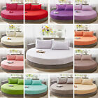 Cotton Round Fitted Coverlet Bed Sheet Bedspread Mattress Topper Solid Color image