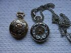 Lot of 2 Pocket Watches-Outland Quartz (Train etched)-Hollow Face Mechanical
