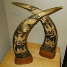 "SET OF 2 HAND CRAVED HORNS 18"" DRAGON AND BIRDS FROM THILAND"