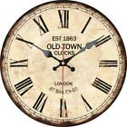 Retro Round Wooden Wall Clock Old Town Clock London Home Office Wall Decoration