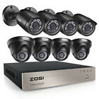 ZOSI 8CH H.265+ 1080P Home Surveillance Security Camera DVR System Outdoor 1TB