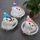 Lovely Cats In Basket Plush Stuffed Toys Simulation Kitten Doll Can Sound Cat