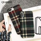 Vintage Plaid Grid Cloth Fabric Plush Soft Phone Case For iPhone MAX XR X 8 7 6