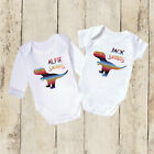 Personalised Newborn Bodysuit Expecting Mum Baby RAINBOW Dinosaur vest Gift