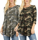 Round Neck 3/4 Sleeve CAMOUFLAGE PRINT Premium Rayon Top S ~ XL