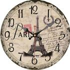 Retro Round Wooden Wall Clock Paris Eiffel Tower Home Office Wall Decoration