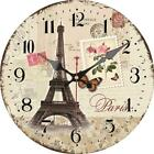 Retro Round Wooden Wall Clock Eiffel Tower Stamps Flower Home Office Wall Decor