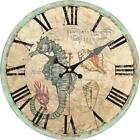 Retro Round Wooden Wall Clock Trumpet Shell Sea Horse Home Office Wall Decor