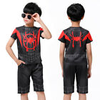 Miles Morales Into Spider Verse Kids T-shirt  Shorts Spiderman Cosplay Costume