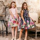 2019 Summer Girls Gowns Flower Print Floral Sleeveless Kids Princess Dresses