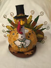 Metal and Glass- Large urkey Shaped Tea Light Candle Holder Small So Cute!