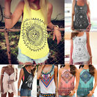 Women Floral Boho Hippie Tank Top Summer Vest Sleeveless T shirt Loose Blouses
