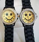 Geneva Happy Face Silicone Rhinestone Fashion Women's/Girl's Casual Watch image