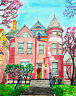 Original brush pen /acrylic painting drawing house -  old louisville mansion