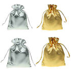Gold / Silver Satin Silk Gift Bags Small Drawstring Jewellery Pouches Wedding