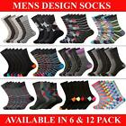 6 & 12 Pairs Mens Multicoloured Socks Clavin Casual Smart Work Golf Adults 6-11