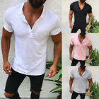 Mens Slim Fit Muscle Gym T Shirt Henley Plain Short Sleeve V Neck Basic Tee Tops image