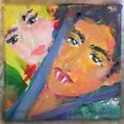 """Vampire Love Portrait Original Painting 3x3"""" Stretched Canvass Signed By Artist"""