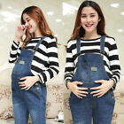 Womens Maternity Overalls Denim Jumpsuit Stretch Pants Rompers Pregnant Trousers