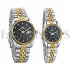 Men's Women Gold Silver Tone Date Waterproof Luxury Stainless Steel Wrist Watch image
