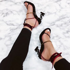 Cape Robbin KILEY Snake Super Strappy Ankle Tie Up Open Toe Dollar Sign Heel