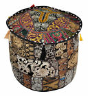 Indian Patchwork Pouf Cover Footstool Seating Pouf Cover Vintage Cotton Cover