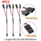 6Pcs Servo Extension Cord Lead Y Wire Receiver Cable For RC JR Futaba Connector