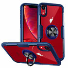 Magnetic With 360 RIng Holder Clear Hard Case Cover for iPhone XS XR 8+ 7 6 Plus