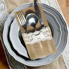 1/4PCS Hessian Burlap Lace Cutlery Holder Pouch Bag for Wedding Flatware Storage