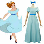 Animated Film Peter Pan Wendy Darling Cosplay Costume Maxi Dress w/ Bow Blue