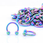 RAINBOW Horseshoe Bar With Balls - Lip Nose Septum Ear Ring Various Sizes